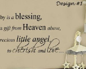 Baby is a Blessing from Heaven Nu rsery Vinyl Wall lettering Sayings ...