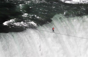 Nik Wallenda crosses Niagara Falls on a wire. Photo: Mark Blinch