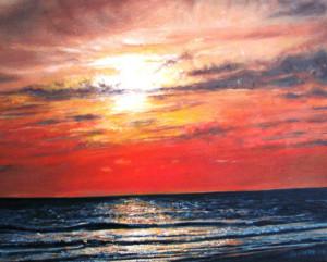 Oil Painting Ocean Sunset Beach
