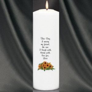 WDSG- Sunflower Theme Wedding Unity Candle With Verse (White)