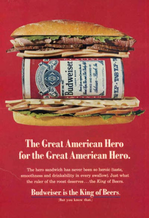 Old Budweiser ads - Budweiser can inside a burger. The Great American ...