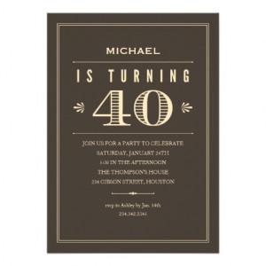 40th Birthday Invitations for Men - Zazzle.com.au
