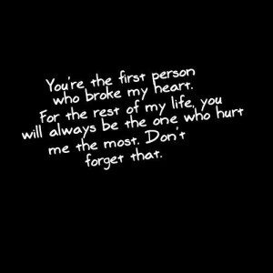 """... Be The One Who Hurt Me The Most. Don't Forget That """" ~ Sad Quote"""