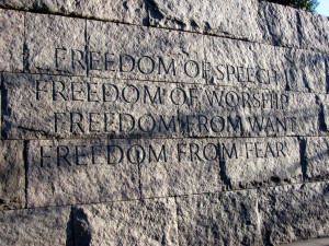 ... right to freedom of speech expression freedom of worship freedom from