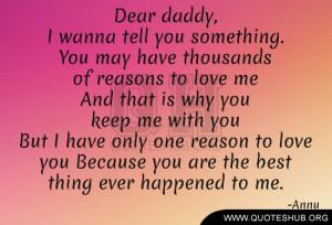 Dear daddy,
