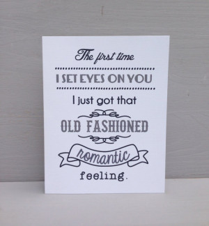 Old fashioned, romantic feeling- romantic card, anniversary card