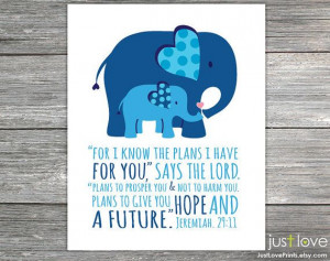 boy or baby girl nursery art blue elephants scripture quote for boy ...