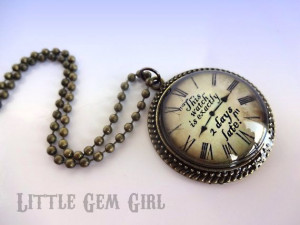 Alice in Wonderland Necklace White Rabbit Quote Clock Necklace ...