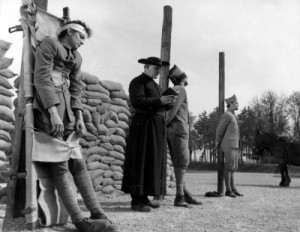 Three French soldiers prepare for execution by firing squad in Paths ...