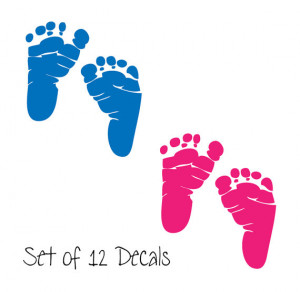 12 Sets of Baby Footprints - Newborn Decals - Great for Baby Showers ...