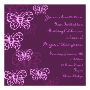 Purple & Pink Butterfly Birthday Invitation from Zazzle.com