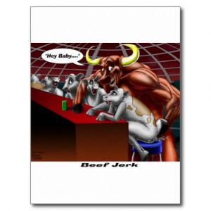 beef_jerky_origins_funny_cow_bull_cartoon_gifts_postcard ...