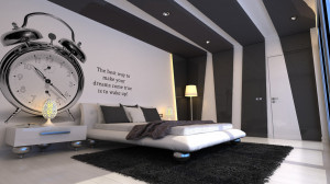 Grey-and-white-bedroom-with-insipiration-wall-quote-furry-rug