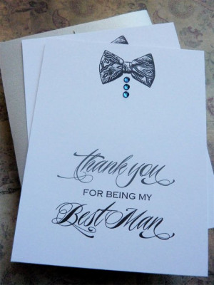 Best Man Wedding Thank You Card with Bow Tie and by ifiwerecards, $4 ...
