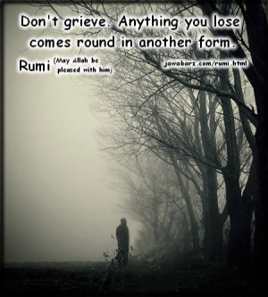 Don't grieve. Anything you lose comes round in another form.| Rumi ...