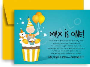 Connors Cupcake Invitation - He is Turning ONE! celebrate with this ...