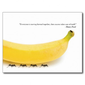 Teamwork Quote - Funny Banana & Ants Postcard