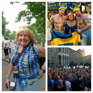 to R: Tania, our landlady; Tania with fans in the Fan Zone; picture ...