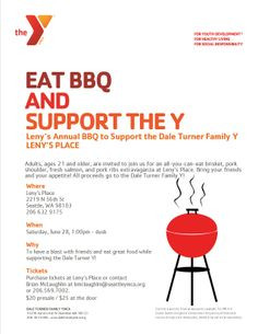 ... Leny's Annual BBQ to support the Dale Turner Family Y on June 28