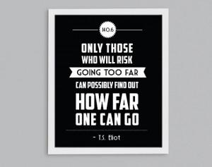 ... Triathlon T.S. Eliot Retro Print - Inspirational Exercise Quote