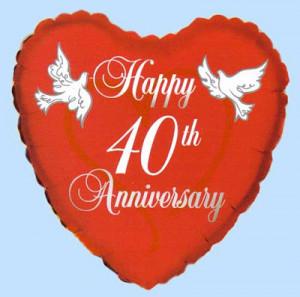 Happy 40th Anniversary Heart Latex Balloon - £0.31 : Balloons and