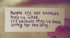 If I were to say the reasons why I am crying, I would have a very long ...