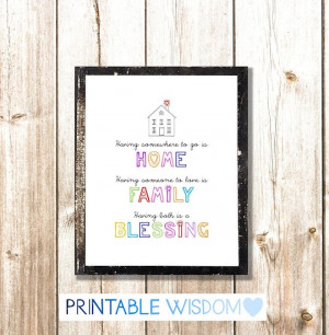 Quote Print, printable art, wall decor, home family blessing, custom ...