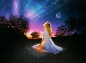 Wonderful Evening - sunset, atmosphere, girl, moon, trees, landscape ...