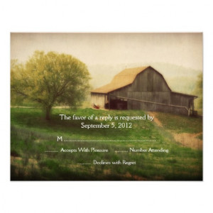 Country Barn Vintage Wedding RSVP Custom Invitation from Zazzle.com