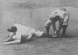 Babe Ruth registers the last out of the 1926 World Series at second ...