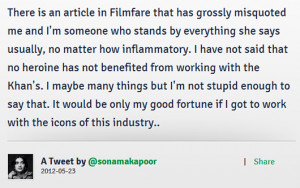 "... Been Grossly Misquoted!"" Sonam Kapoor Denies Racy Quote in Filmfare"