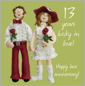 13th wedding anniversary card £ 1 99 15cm x 15cm a lovely 13th ...