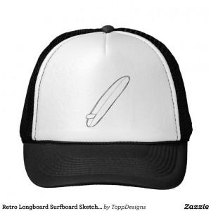Retro Longboard Surfboard Sketch Hat