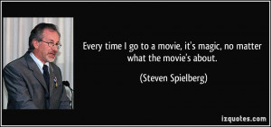 ... , it's magic, no matter what the movie's about. - Steven Spielberg
