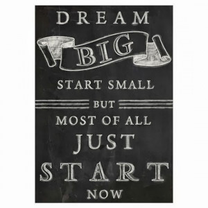 Dream Big start small but most of all just start now