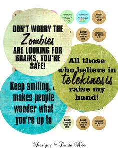 Instant Download - Sarcastic Quotes 1 (1 inch round) Bottlecap Quotes ...
