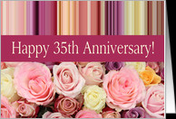 35th Wedding Anniversary Card - Pastel roses and stripes card ...