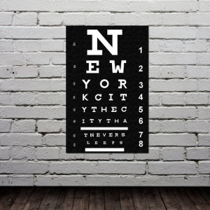 Eye Chart - New York City Poster - Typography Print - Modern Home ...