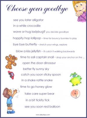 ... reassure at leaving times in children's preschool early years settings
