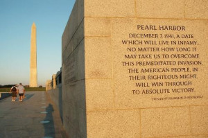 Franklin Roosevelt's famous quote about Pearl Harbor adorns the ...