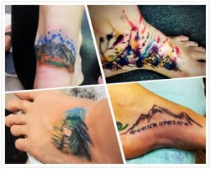 2014 mountain watercolor Tattoo on foot for summer - quotes, waves ...
