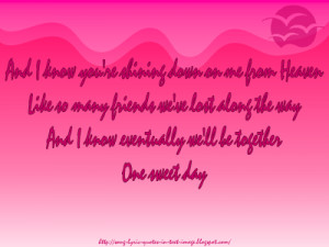One Sweet Day - Mariah Carey Song Lyric Quote in Text Image
