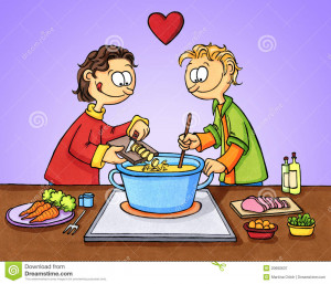Cartoon Drawing Two Chicken Love Stock Images Image