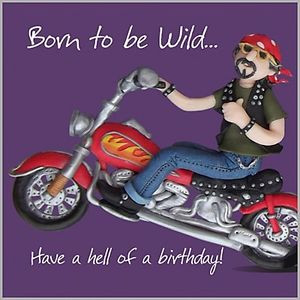 Mens Boys Fun Birthday Card, Harley Davidson Style Motorbike Born to ...