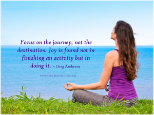 Focus on the journey, not the destination. Joy is found not in ...
