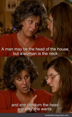 "Maria Portokalos (Lainie Kazan): ""A man may be the head of the house ..."