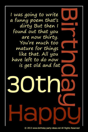 Funny 30th Birthday Poem: