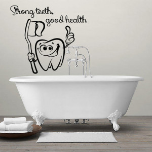 Wall Decals Quotes Strong teeth, good health Decal Vinyl Sticker Tooth ...