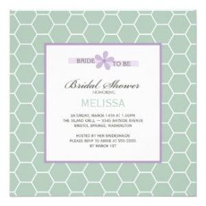 Mint Green Honeycomb Spring Bridal Shower Cards