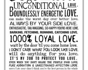 ... Love My Dog Quotes Poster. Gift For Dog People Or Animal Rescue